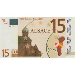 Billet Souvenir - 15 euro - Alsace - 2008