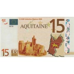 Billet Souvenir - 15 euro - Aquitaine - 2008