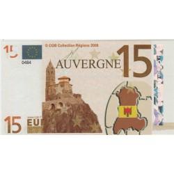 Billet Souvenir - 15 euro - Auvergne - 2008