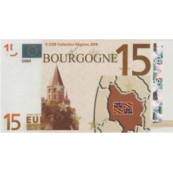 Billet Souvenir - 15 euro - Bourgogne - 2008