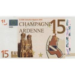 Billet Souvenir - 15 euro - Champagne Ardenne - 2008