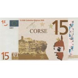 Billet Souvenir - 15 euro - Corse - 2008