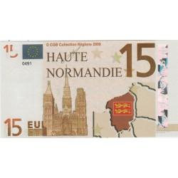 Billet Souvenir - 15 euro - Haute Normandie - 2008