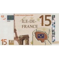 Billet Souvenir - 15 euro - Île-de-France - 2008