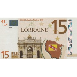 Billet Souvenir - 15 euro - Lorraine - 2008