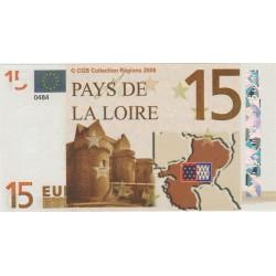 Billet Souvenir - 15 euro - Pays de la Loire - 2008