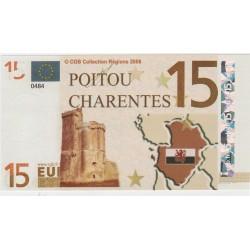 Billet Souvenir - 15 euro - Poitou Charentes - 2008