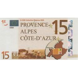 Billet Souvenir - 15 euro - Provence-Alpes Cote-d'Azur - 2008