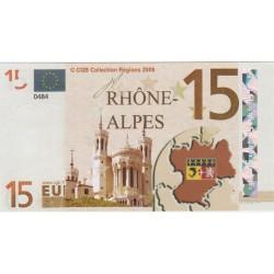 Billet Souvenir - 15 euro - Rhone-Alpes - 2008