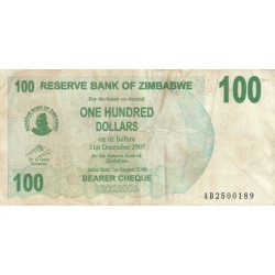 One Hundred Dollars - Zimbabwe