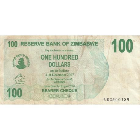 One Hundred Dollars - Zimbabwe