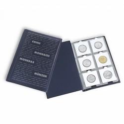 Album de poche avec 10 feuilles numismatiques pour chacune 6 cadres cartonnés, bleu