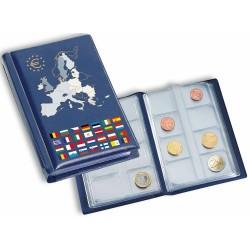 Album de poche avec 12 feuilles numismatiques pour 12 séries complètes d'euros, bleu