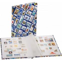 Classeur DIN A4 décoration avec motifs de timbres HOBBY, 16pages blanches, bleu