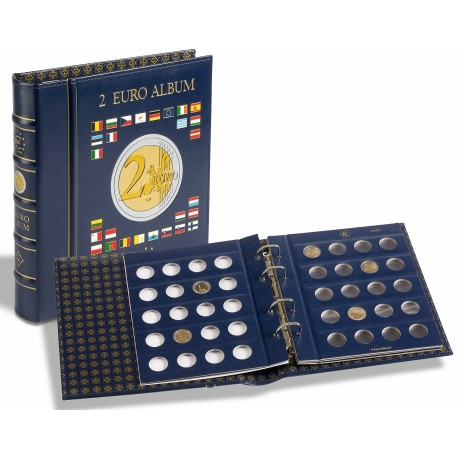 VISTA album numismatique pour pièces de 2 euros (4 feuilles neutres) avec étui