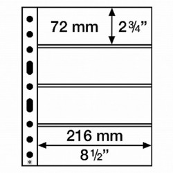 Feuilles en plastique SH 312, 4 pochettes horizont. billets banque, PP, clair, paq. de 50
