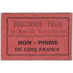 Bon d'alimentation - Bon - prime de cinq francs - Boucherie Félix