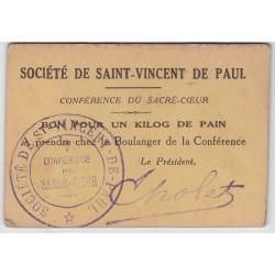 Bon d'alimentation - Bon pour 1kg de pain - Société de St-Vincent de Paul